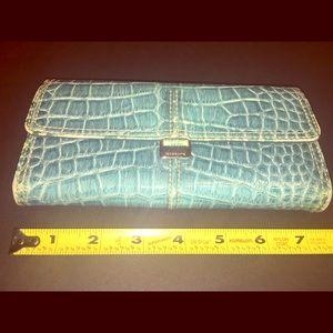Liz Claiborne's Blue Faux Gator Trifold Wallet